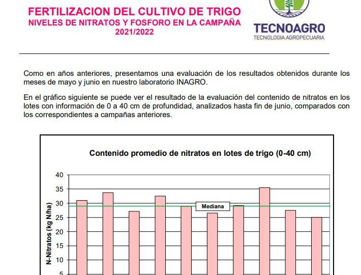 FERTILIZACION DEL CULTIVO DE TRIGO NIVELES DE NITRATOS Y FOSFORO EN LA CAMPAÑA 2021/2022